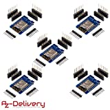 AZDelivery ⭐⭐⭐⭐⭐ 5 x D1 Mini NodeMcu Lua ESP8266 ESP-12E WLAN WiFi Internet Module Entwicklungsboard für Arduino, 100% kompatibel mit WeMos D1 Mini