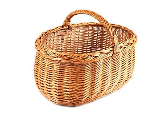 Cesta de la compra, cesta de mimbre, botella cesta de regalo trenzado. ideal como cesta de la compra, pero también para guardar frutas, verduras, piezas pequeñas, utensilios de cocina, etc. BTH 43/29/20cm estable Asa de cesta de mimbre.