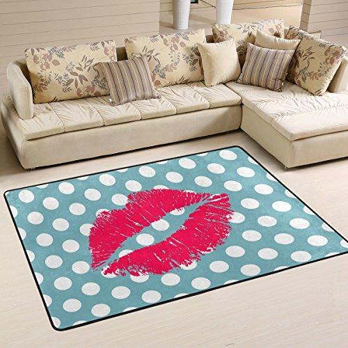 JSTEL Woor rote Lippen und Polka Dot Wohnzimmer Essbereich Teppiche 91,4x 61cm Bed Room Teppiche Büro Teppiche Moderner Boden Teppich Teppiche Home Decor, Multi, 3 x 2 Feet