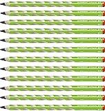 Ergonomischer Dreikant-Bleistift für Rechtshänder - STABILO EASYgraph in grün - Härtegrad 2B - 12er Pack