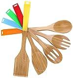 COOKSMARK - 5ustensiles de Cuisine en Bambou antiadhésifs -Cuillères et spatules en Bois avec poignées en Silicone Multicolores (Rouge, Vert, Jaune, Orange, Bleu)