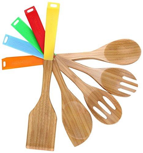 COOKSMARK 5-teilig Naturbambus-Holz Kochlöffel Set Kochbesteck Kochutensilien Spatel Wooden Spoon Salatbeteck Kelle Pfannenwender mit Bunten Silikongriffen