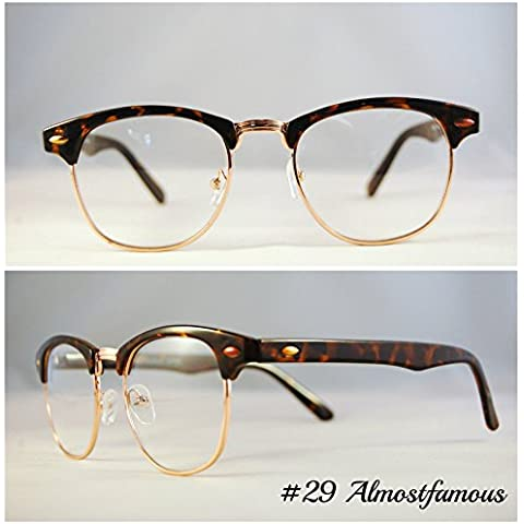 Tortuga Clubmaster marco Clubmaster 80s moda lente transparente gafas Classic negro tortuga lectura gafas de Geek mundo ojo