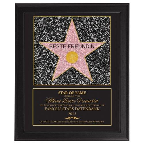 Star Of Fame – Beste Freundin - Hollywood Stern – Urkunde - Personalisiert mit Jahreszahl - Druck gerahmt - Wanddeko im dunklen Bilderrahmen – Originelles Geburtstagsgeschenk – ca. 35 x 45 cm