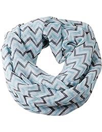 niceeshop(TM) Soft Warp Knitting Voile Chevron Sheer Infinity Scarf (Blue&Grey)