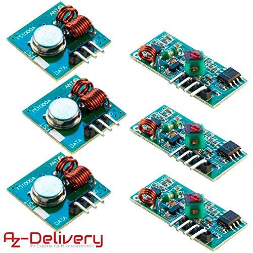 AZDelivery ⭐⭐⭐⭐⭐ 3 x Module Radio émetteur et récepteur 433 MHz Wireless  Transmitter Module Set pour Arduino et Raspberry Pi