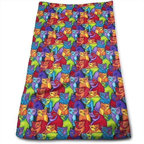 zhkx Rainbow Cubist Katzen Gesicht Handtücher Mikrofaser Sport Handtücher für Sport, Haarpflege, Kosmetik, Reinigung, Möbel Make-up Entfernen, schnell trocknend 69,8 x 30,5 cm.