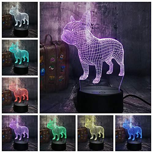 3D Led Lampe D'Illusion Optique Optiques Illusions Lampe De Nuit 3D Led Table Lampe Bouledogue Français Joli Chiot Rgb Usb Table Lampe Télécommande Famille Cadeau Noël Pour Enfants