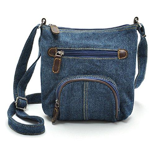 Lässige Umhängetasche | Schultertasche | Crossbody Bag | Handtasche | Messenger Bag für Damen im Cowboy Denim Style (Hobo Fashion) (Blau)