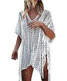 ShinyStar Damen Strandponcho Sommer Gestrickte Bikini Badeanzug Cover Up aus Spitze Crochet Strandkleid mit Quasten Oversize Weiß Einheitsgröße