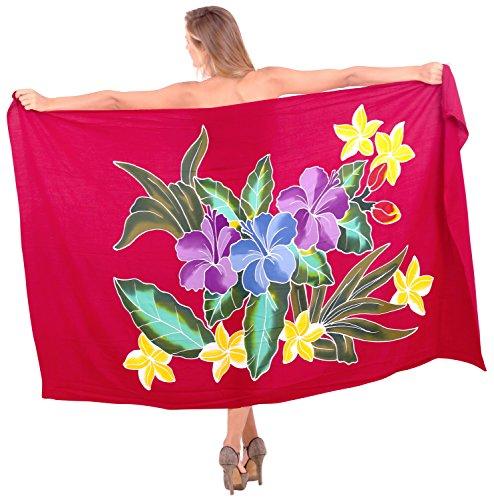 La Leela Hand malen Blumen Ansicht weicher Viskose Sarong wickeln vertuschen 78x43inch rot (Vertuschen Sarong)