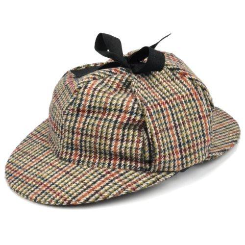 Homes Kostüm Sherlock - Sherlock Holmes Tweed Hut mit zwei Spitzen und Ohren Klappen - Nicht Verfügbar, 59cm