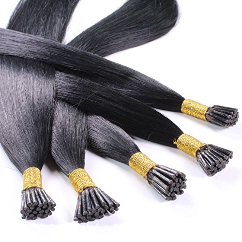 hair2heart 50 x 1g Echthaar Microring Stick Extensions, 50cm - glatt - #1 schwarz (Indische Haar-stick)