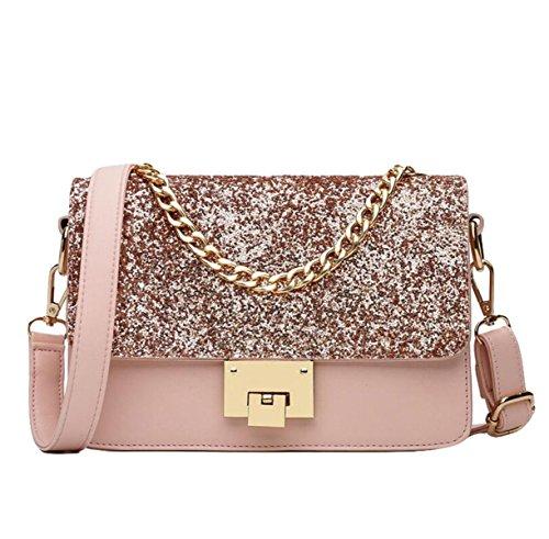Sequins Kette Mode Kleine Frische Casual Kleine Quadratische Tasche Schultertasche Diagonal Paket Mini Tasche Pink