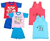 IndiWeaves Boys Pure Cotton Baba Suit (T-Shirt and Bottom) (Pack of 2)- (Assorted Color/Print) And Girls Pure Cotton Cartoon Print Slips/Vests (Pack o