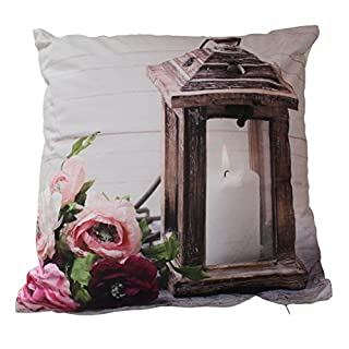 Cushion with LED Light and Various Christmas/Winter Designs 40x 40cm, Laterne Braun, 40x40cm