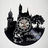 Knncch Lindo Reloj De Pared con Disco De Vinilo Y Decoración De Cuento De Hadas del Mundo - Decoración para El Dormitorio Niños, Adultos Y Hombres