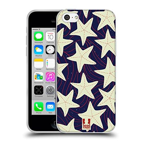 Head Case Designs Anker Und Chevron Marine Muster Soft Gel Hülle für Apple iPhone 6 / 6s Weisser Seestern
