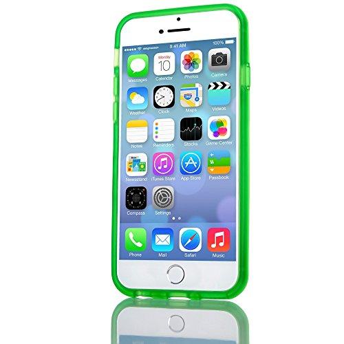 iPhone 6 6S Bumper von NICA, Dünner Rutschfester Silikon Rahmen Soft & Ultra-Slim Protector, Stoßfester Rugged Phone TPU Gel Gummi Schutz-Rand für Apple iPhone 6 6S Smartphone, Farbe:Schwarz Grün