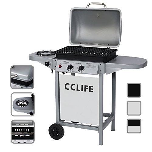 CCLIFE Barbecue à gaz (2+1 brûleurs 2 Brûleurs) Barbecue en Acier de Couleur Noir/Argent, Größe:2+1 Silber