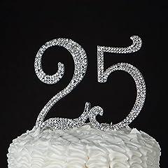 Idea Regalo - Numero 25 Decorazione topper argento per il 25 esimo anniversario ottimo per compleanni o feste di anniversario con strass e brillantini.