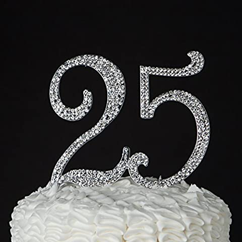 25 Cake Topper for 25th Birthday or Anniversary, Crystal Rhinestone