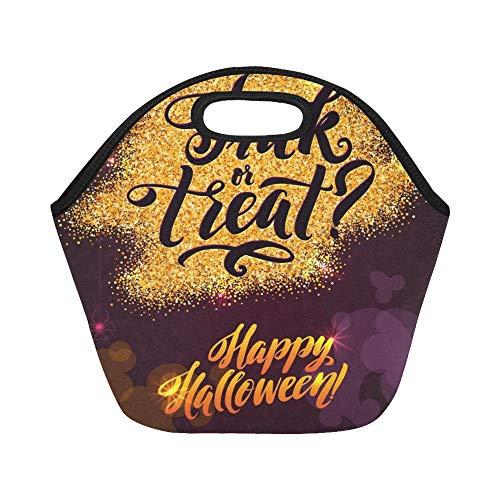 Isolierte Neopren-Lunch-Tasche Happy Halloween Gold Sparkles Cupcakes Große wiederverwendbare thermische dicke Lunch-Tragetaschen Für Brotdosen Für draußen, Arbeit, Büro, Schule