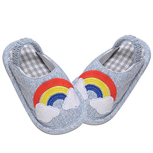 PER Carine e Creative Pantofole per Bambini e Bambine Non-Scivolo e Morbide Pantofole con Carino Cartoon per i bambini di 10-24 Mesi (Cavallo-Rosa, 17) Arcobaleno-Blu
