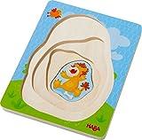 HABA 303382 - Holzpuzzle Wildtiere | Puzzle in 4 Schichten mit 10 Teilen | Holzspielzeug mit liebevoll gestalteten Tiermotiven | Spielzeug ab 2 Jahren