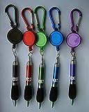 Veroda Anhänger mit Karabiner, Gürtelclip und einziehbarem Stift, zufällig gewählte Tintenfarbe, 5Stück violett