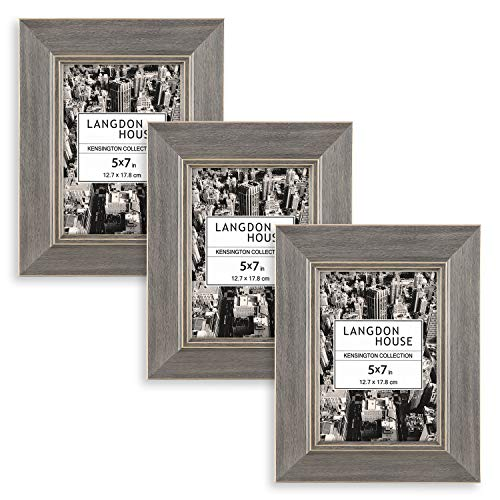 Langdons Bilderrahmen-Set (3er-Pack), Wandmontage oder Tischbilderrahmen, Anzeige vertikal Grau 5x7 -