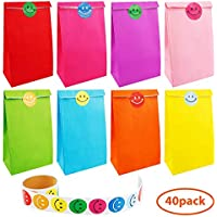 Augshy 40 Pcs Favor Paper Gift Bags with A Roll of 100 Smile Face Stickers for Kids Chirstmas Birthday Party Supplies