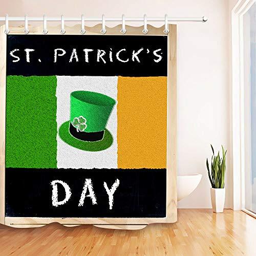 Yinyinchao Badezimmerdekoration,3D-Hd-Druck Verblasst Nicht,St. Patrick's Day Green Hat Irische Flagge,Wasserdicht,Duschvorhang Aus Polyestergewebe,12 Duschhaken,180X180 cm,Wohnaccessoires - Green Day Hat