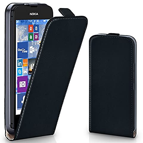 Pochette OneFlow pour Nokia Lumia 530 housse Cover magnétique | Flip Case étui housse téléphone portable à rabat | Pochette téléphone portable téléphone portable protection bumper housse de protection avec coque en DEEP-BLACK