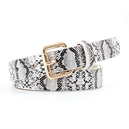 Cinturón de piel para mujer, diseño de serpiente retro, de piel sintética, versátil, Blanco