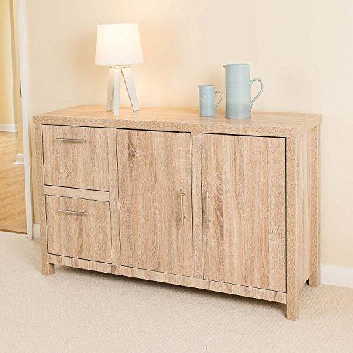 Christow Oak Effect 2 Door 2 Drawer Wooden Storage Cabinet Sideboard Unit