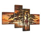 Bilderdepot24 Kunstdruck African Life M1 - P214-100x70cm - 4teilig preisgünstig und stilsicher