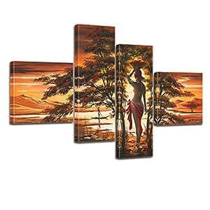 """Bilderdepot24 déco murale """"Afrique Life M1"""" - 100x70cm, ensemble de 4 toiles tendues sur châssis bois. P214"""