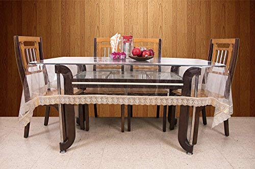 Kuber Industries PVC 6 Seater Transparent Dining Table Cover - Gold