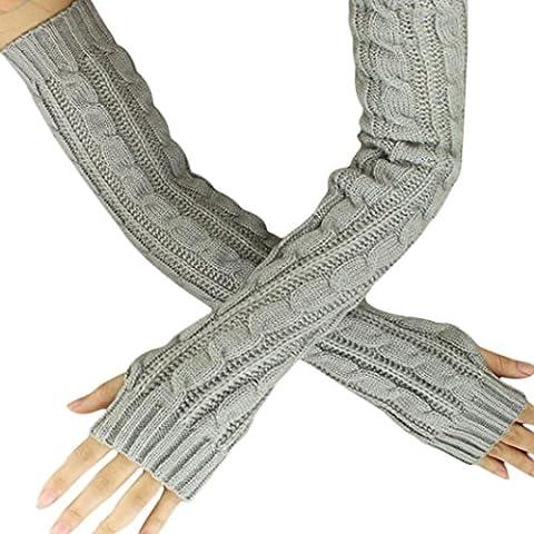 Saingace gloves winter Hanf-Blumen-Fingerless lange Handschuhe Gestrickte (Grau)