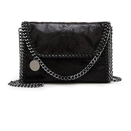 Damen PU lässigen Angleliu Kette Handtasche Modisch Schultertaschen Glitzer Beuteltasche (Kleiner schwarzer Stil)