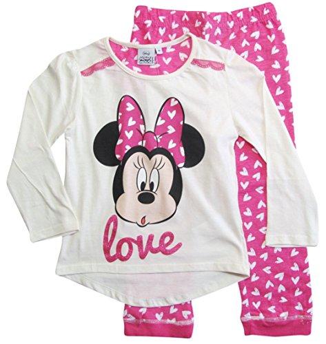 Minnie Mouse Kollektion 2018 Pyjama 92 98 104 110 116 122 128 Mädchen Schlafanzug Neu Nachtwäsche Lang Maus (Creme-Rosa, 122-128) (Schlafanzug Mädchen Lange)