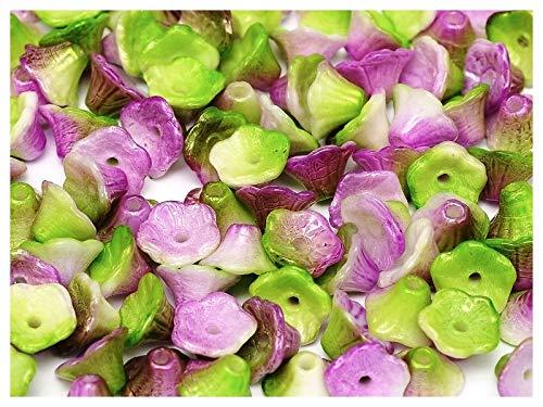 50 Stück Flower Cup Bead - Tschechische Glasperlen in Form von Glocken-Caps 7x5mm, Chalk White Funky Orchid (Opaque Light Green Half Violet)