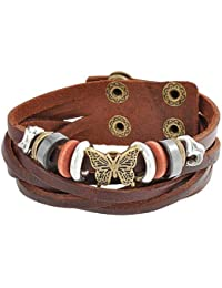 Bling Jewelry Verstellbares Schmetterling Charms Hematite geflochtenes Leder Snap Armband