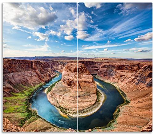 Herdabdeckplatte / Spritzschutz aus Glas, 2-teilig, 60x52cm, für Ceran- und Induktionsherde, Grand Canyon