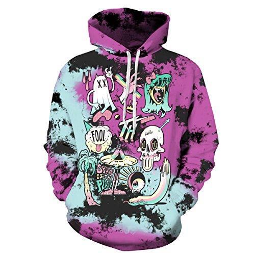 iebhaber Lose Größe Street-Style Halloween-Geist-Motive Mit Kapuze Strickjacke Pullover Pullover Pullover Baseball Kleidung,AsShown-L/XL (Niedliche Baseball-outfits, Halloween)