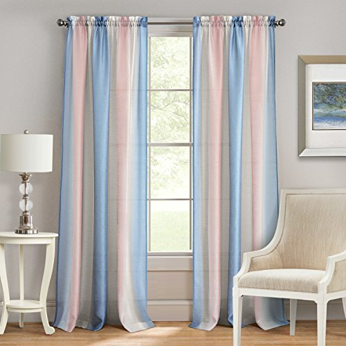 "Achim Home Furnishings Spectrum Rod Pocket Fenster Vorhang Panel, Rose Quartz/Serenity, 50"" x 63\"""