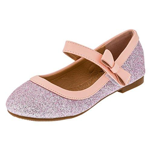 Festliche Mädchen Glitzer Ballerinas Schuhe mit Echt Leder Innensohle M407rs Rosa 19