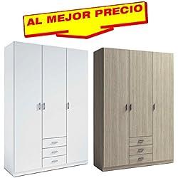ARMARIO ROPERO DE 3 PUERTAS + 3 CAJONES COLECCIÓN MUNDOO,MEDIDAS 150x215 CM - OFERTAS DE HOGAR ¡AL MEJOR PRECIO!-DISPONIBLE EN VARIOS COLORES (Sable)
