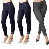 Minni Rossa New Ladies Pack of 3 Stretchy Denim Look Skinny Jeggings Leggings